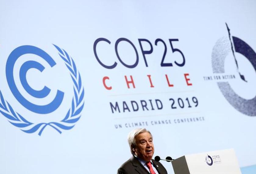 Setiausaha Agung PBB Antonio Guterres menyampaikan ucapan pada pembukaan COP25 di Madrid, 2 Dis, 2019. REUTERS