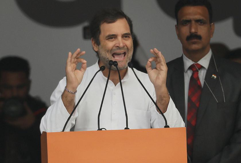 Rahul Gandhi bercakap pada satu perhimpunan yang dianjurkan Parti Kongres di New Delhi, 14 Dis, 2019. (Foto AP)