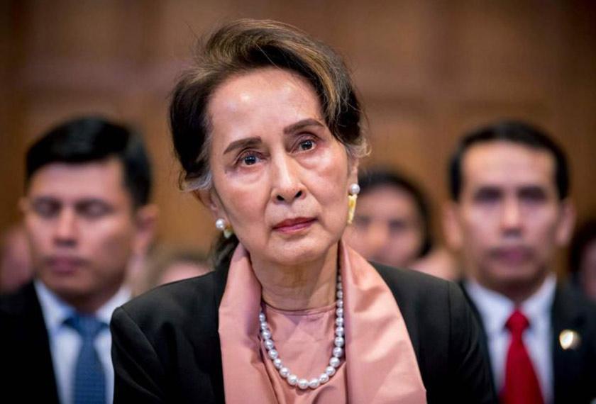 Aung San Suu Kyi ketika hadir di Mahkamah Keadilan Antarabangsa (ICJ) di The Hague. Foto AFP/Ceritalah