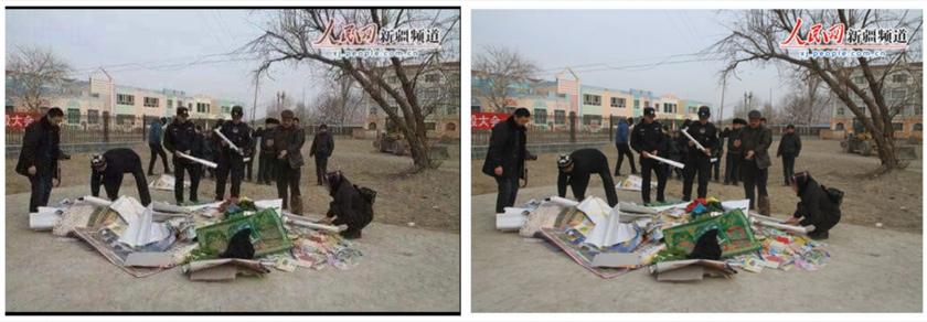 Tangkapan skrin perbandingan gambar pertama di dalam posting yang mengelirukan (kiri) dan imej People's Daily (kanan)