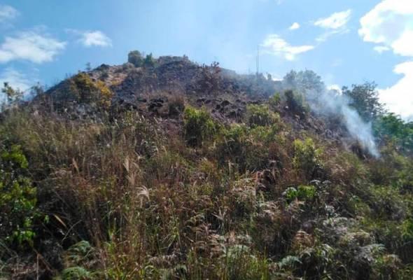 Hutan di puncak Bukit Berekeh terbakar