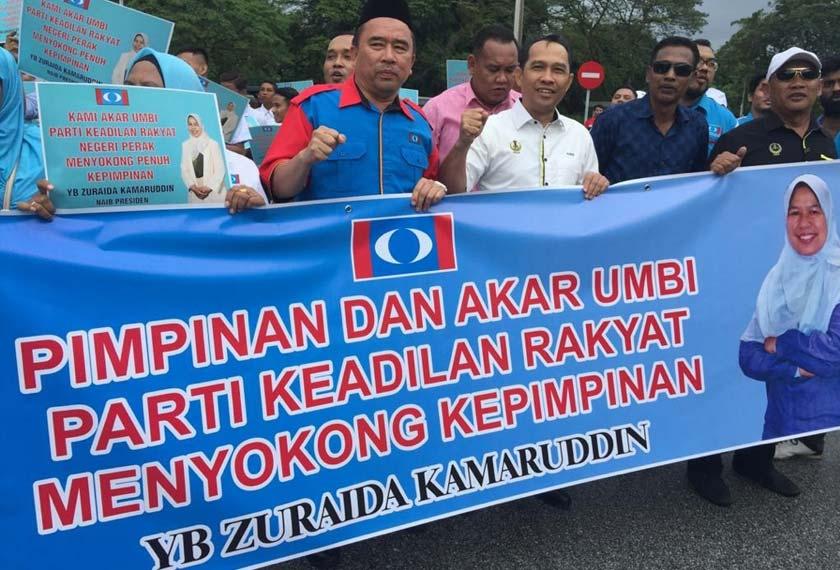 Lebih 200 penyokong dari 24 Cabang negeri Perak termasuk sayap Angkatan Muda Keadilan (AMK) dan Wanita terlibat dalam solidariti bersama Naib Pengerusi Presiden Keadilan, Zuraida Kamaruddin. - Foto Astro AWANI