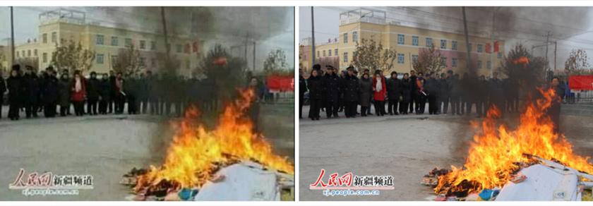 angkapan skrin perbandingan gambar kedua di dalam posting yang mengelirukan (kiri) dan imej People's Daily (kanan)