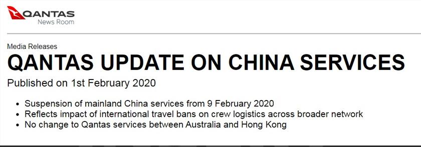Syarikat penerbangan Australia, Qantas menggantung dua laluan ke Beijing dan Shanghai bermula 9 Februari hingga 29 Mac.