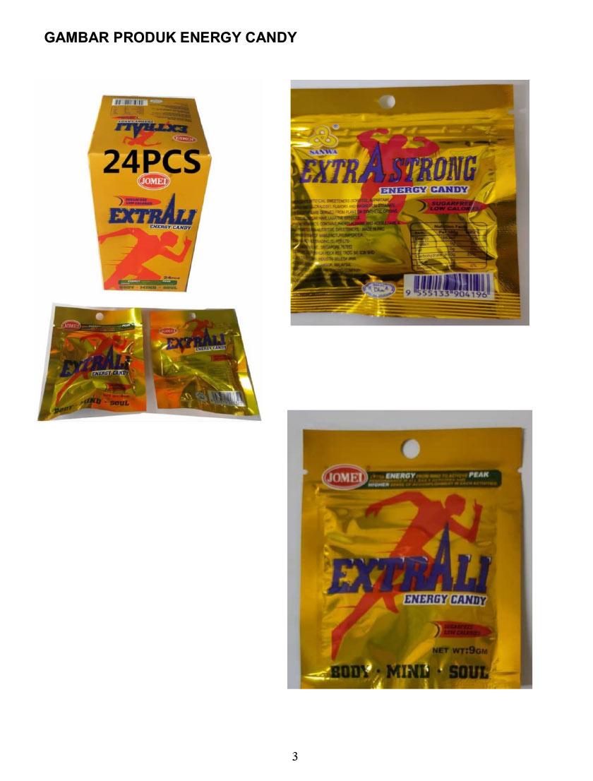 Produk yang terlibat adalah ExtrAli Energy Candy, Extra Strong Energy Candy dan Mixed Fruit Candy. - Sumber KKM