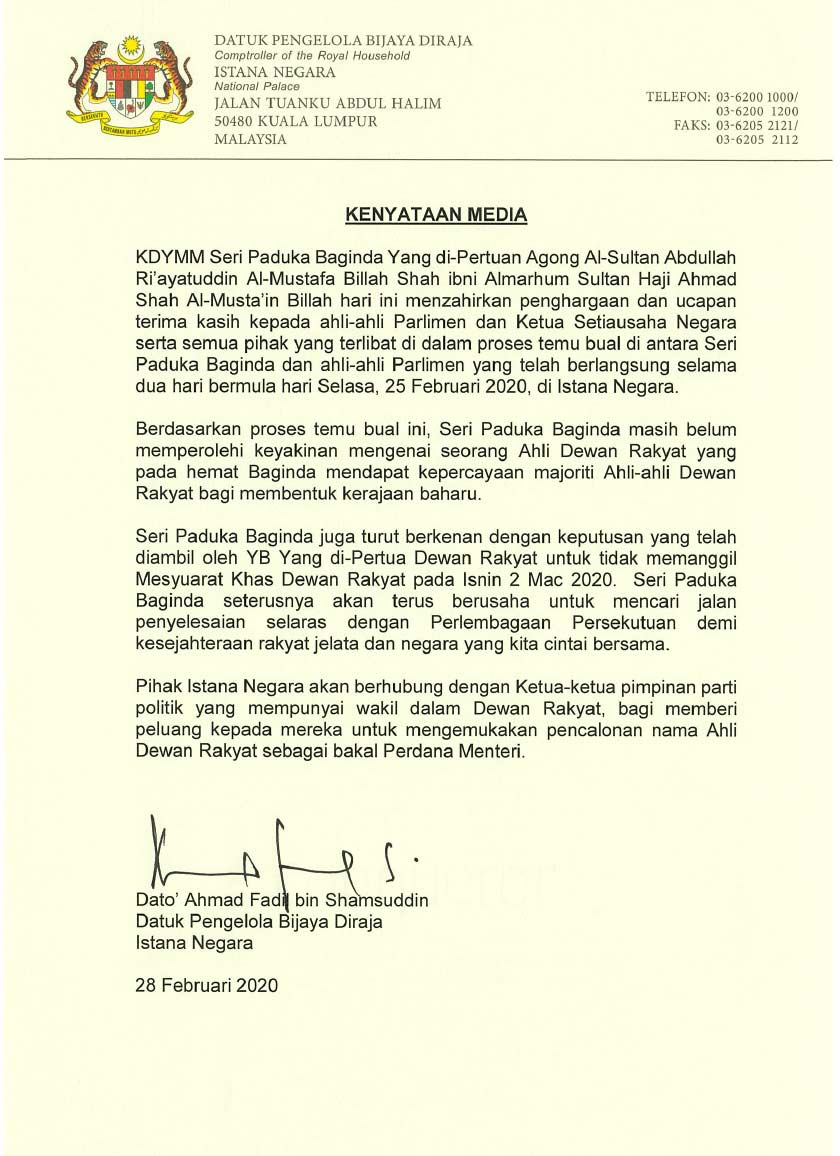 Kenyataan Media Istana Negara