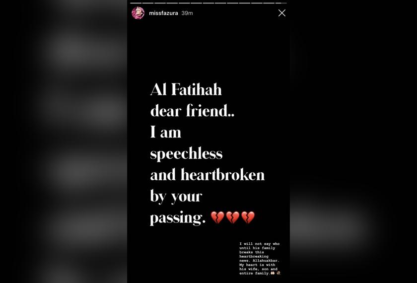 Ucapan Fazura pada Instagram Stories miliknya