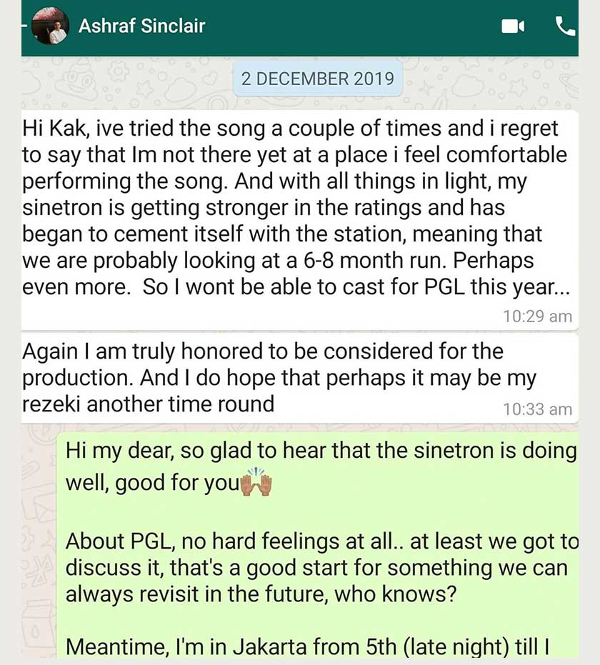 Tiara Jacquelina berkongsi mesej antara beliau dengan Allahyarham Ashraf Sinclair pada 20 Disember lalu.
