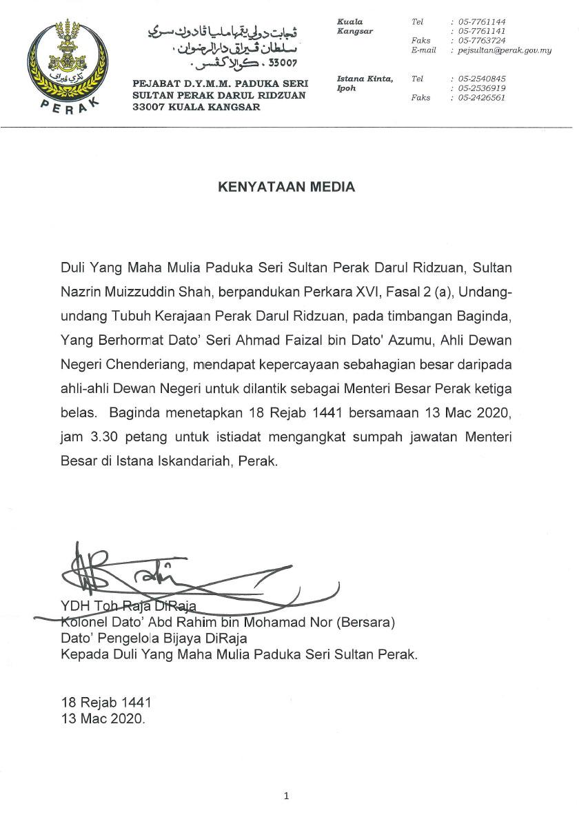 Pengerusi Parti Pribumi Bersatu Malaysia (Bersatu) Perak, Datuk Seri Ahmad Faizal Azumu dilantik sebagai Menteri Besar Perak ke-13 di bawah pentadbiran kerajaan baharu Perikatan Nasional (PN).