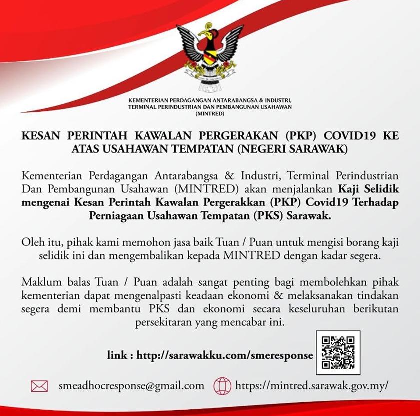 Kenyataan rasmi MINTRED yang meminta Usahawan PKS Sarawak isi borang kaji selidik bagi bantu golongan itu