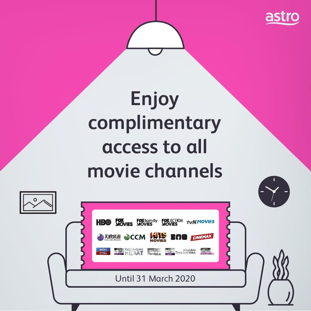 Tempoh akses percuma kepada semua saluran filem bermula 6 pagi 18 Mac hingga 31 Mac.