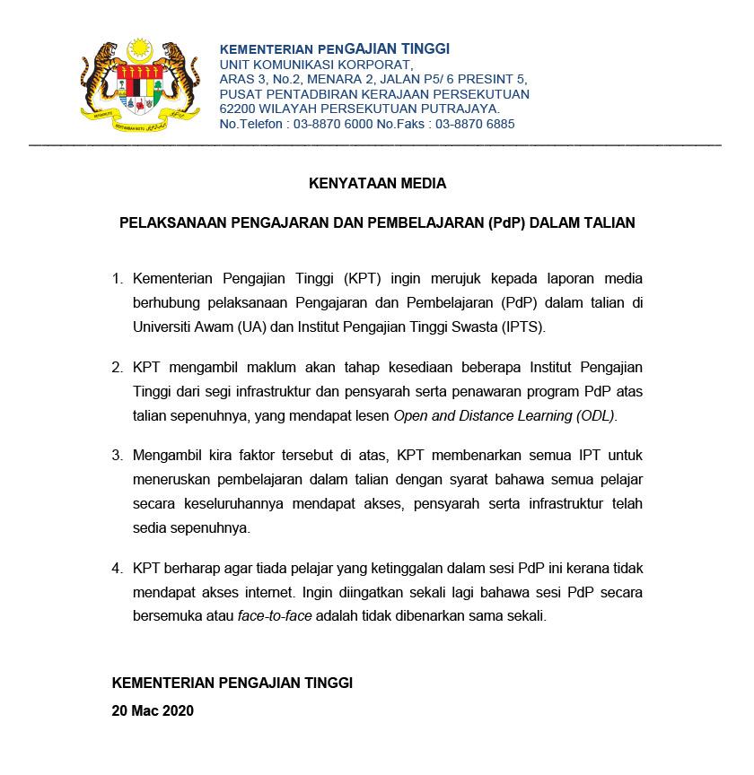 KPT membenarkan semua UA IPTS melaksanakan PdP dalam talian.