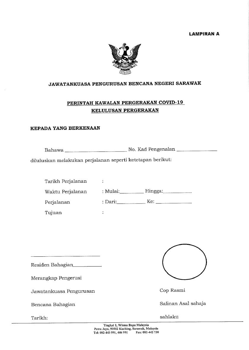 Contoh Surat Rasmi Permohonan Rentas Negeri Pkp