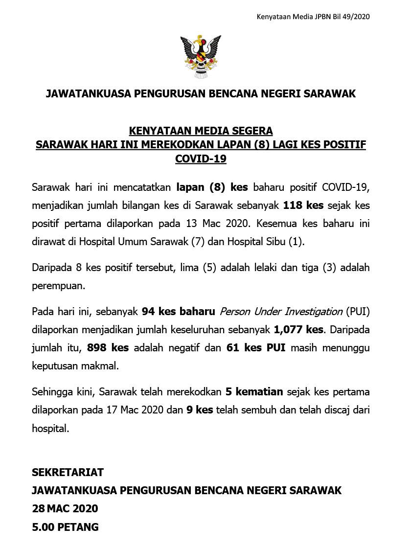 Kenyataan rasmi JPBNS berhubung kemas kini harian kes COVID-19 di Sarawak