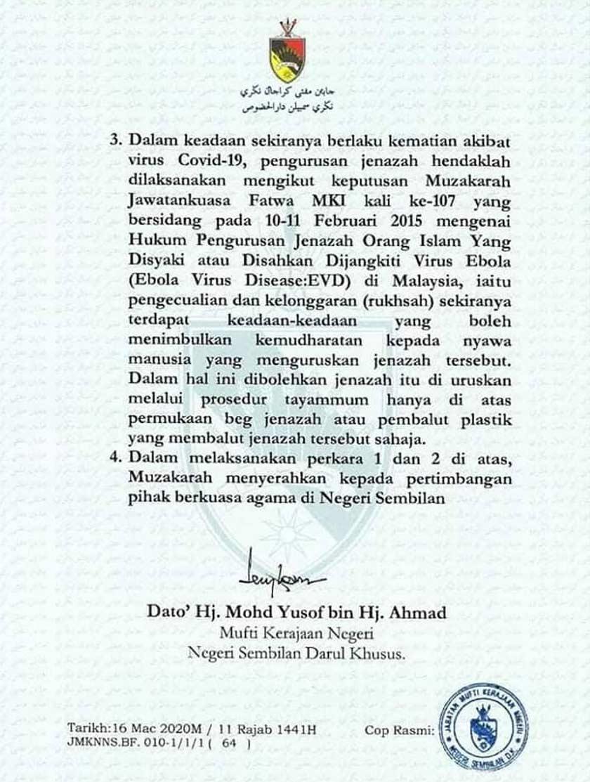 Jawatankuasa Fatwa Negeri Sembilan Darul Khusus hari ini mengisytiharkan penutupan kesemua masjid dan surau di negeri ini bagi tempoh 10 hari bermula esok.