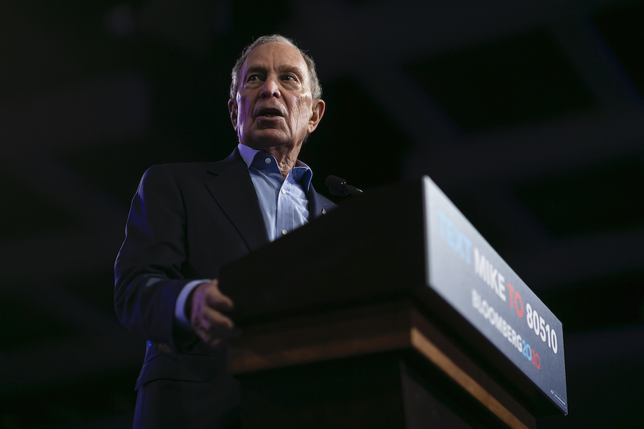 Democratic presidential candidate Mike Bloomberg speaks during a campaign rally at the Palm Beach County Convention Center in West Palm Beach, Fla., Tuesday, March 3, 2020. (Matias J. Ocner/Miami Herald via AP)