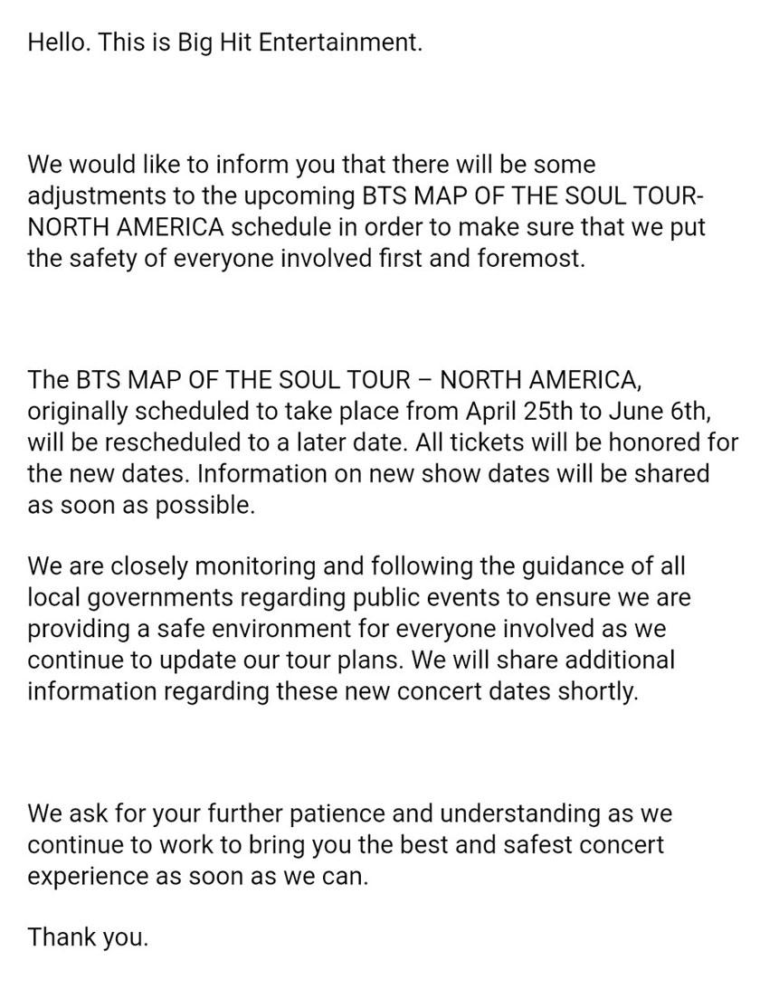 Kenyataan rasmi daripada Big Hit Entertainment.