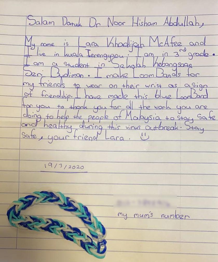 The letter written by Lara to her new friend, Dr Noor Hisham.