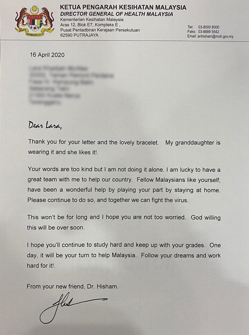 Dr Noor Hisham in his letter to Lara, advised her to study hard.