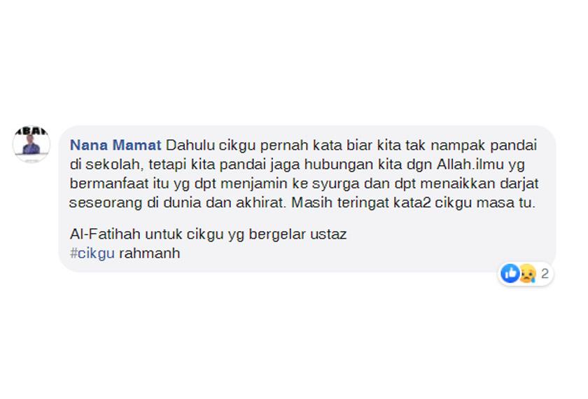 Perkongsian pengguna Facebook Nana Mamat