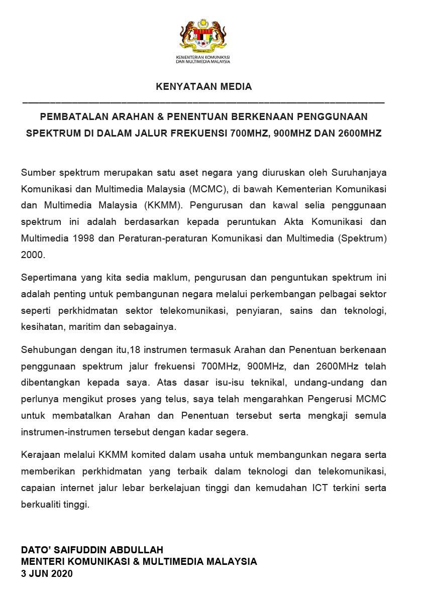 Kenyataan media Kementerian Komunikasi dan Multimedia Malaysia.