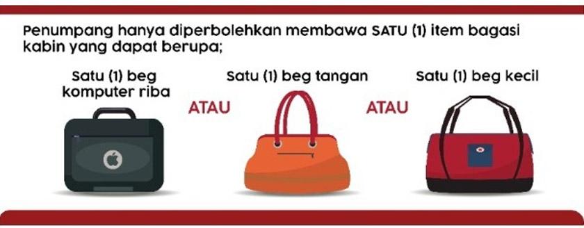 Ini tiga jenis bagasi kabin yang dibenarkan dibawa masuk ke dalam kabin AirAsia.