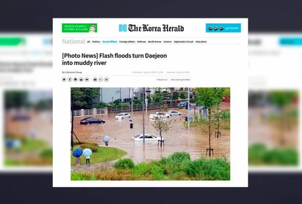 Banjir timpa bandar Daejeon, ratusan kediaman alami kerosakan