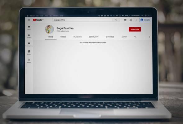 Tiada lagi video masakan S. Pavithra di Youtube