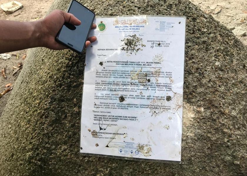 Notis pengosongan lokasi pemujaan dikeluarkan pada 2016