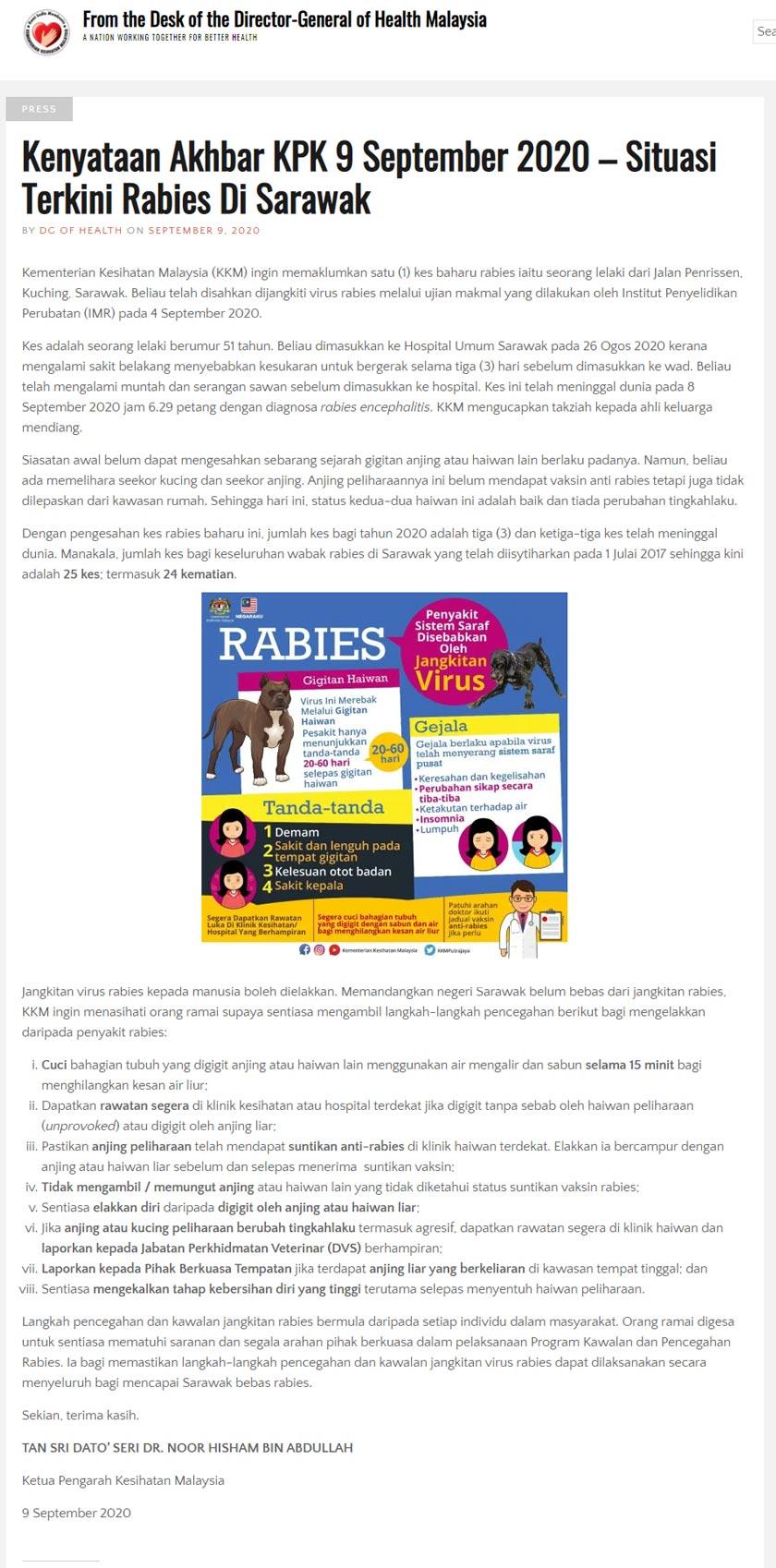 Kenyataan Akhbar terkini oleh Kementerian Kesihatan Malaysia (KKM).