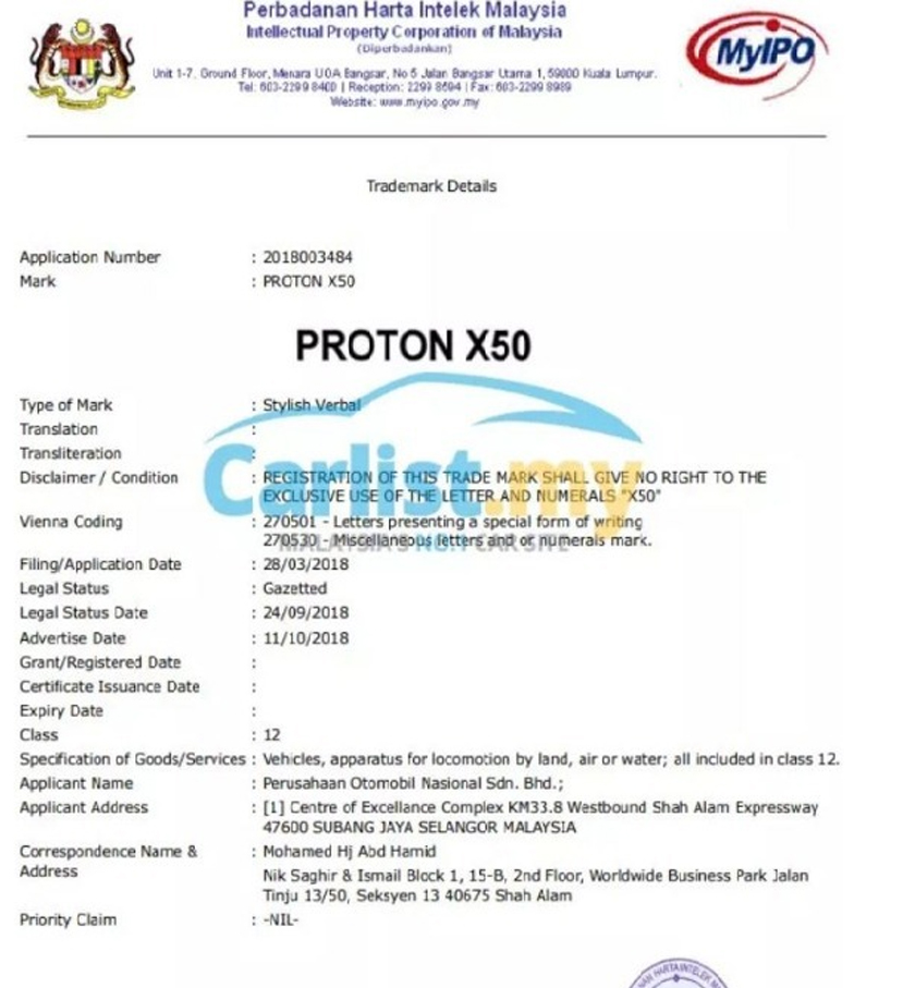 tersebarnya gambar maklumat pendaftaran trademark dengan Perbadanan Harta Intelek Malaysia oleh Proton yang menunjukkan proton bakal meneruskan penggunaan nama X50.