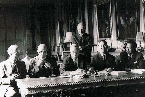 The signing of the Cobbold Report of the Commission of Enquiry, North Borneo and Sarawak, at Knebworth House, London on 21 June 1962