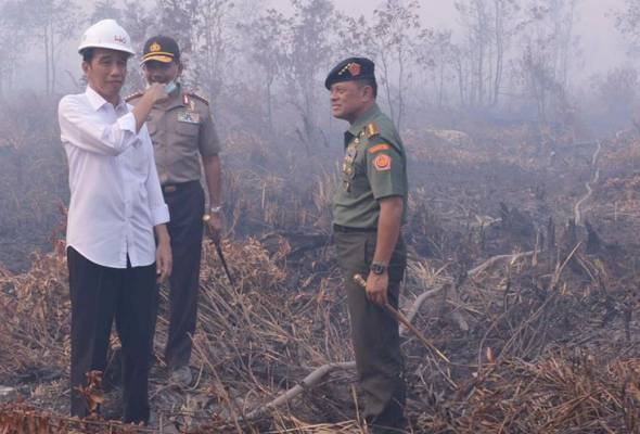 Jokowi visiting South Sumatra province to get a closer look at forest fires that have been causing terrible haze. - Twitter/@jokowi | Astro Awani