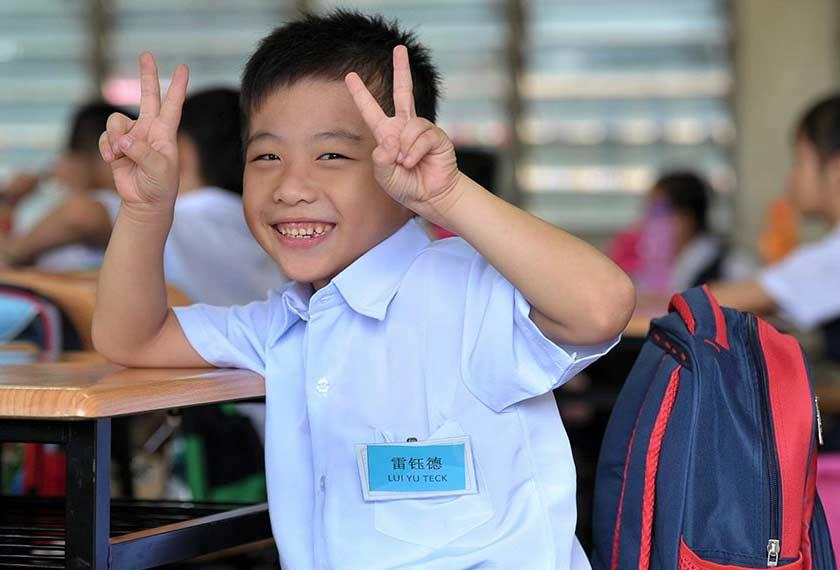 The antics of Lui Yu Tek, 7, on his first day at SJK (C) Pu Nan in Muar, Johor on Jan 3, 2016.