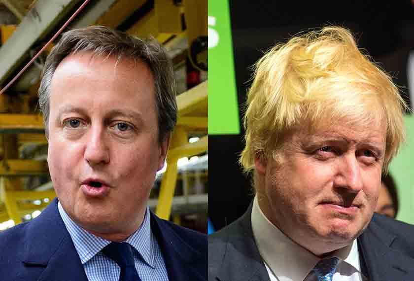 Cameron & Johnson masing-masing mengetuai kempen 'Remain' dan 'Leave'. - Foto AP
