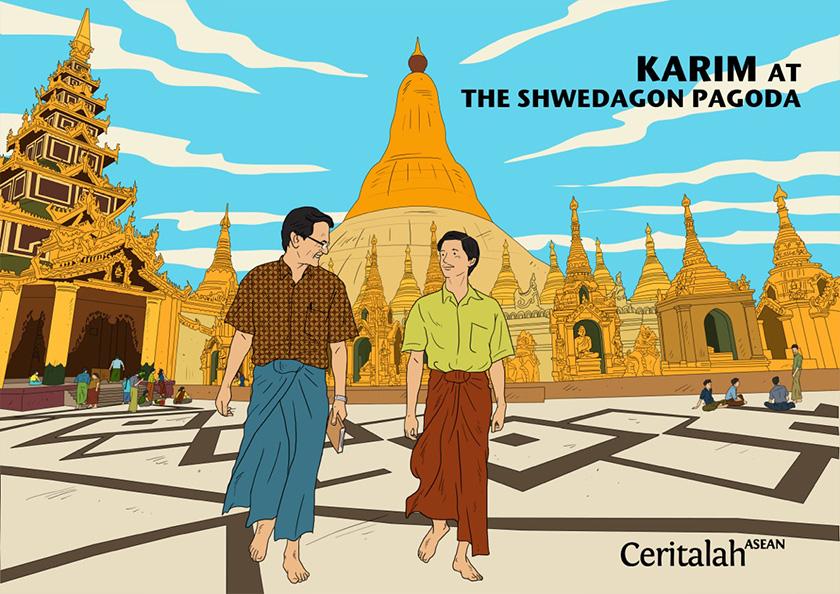 Karim di Shwedagon Kuil. Ilustrasi Karim Raslan