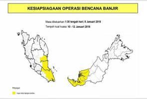 Pahang, Johor, Sarawak bakal dilanda banjir bermula Rabu - NADMA