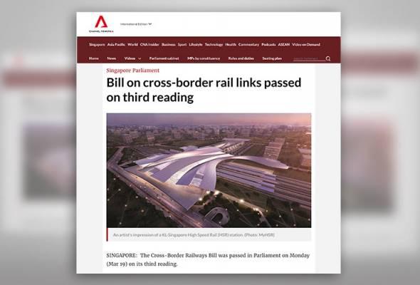Rang Undang-undang Keretapi Rentas Sempadan dilulus Parlimen Singapura