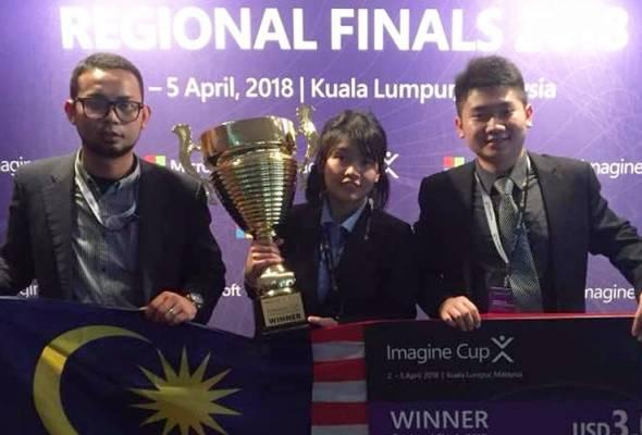 Pasukan Malaysia (dari kiri) Zulnazim Dzulkurnain, Tan Yit Peng dan Yap Xien Yin, tidak sabar untuk mencipta sejarah baharu bagi mengungguli Imagine Cup peringkat dunia Julai ini. - Astro AWANI | Astro Awani