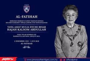 Bonda Sultan Johor, Enche' Besar Khalsom Abdullah mangkat