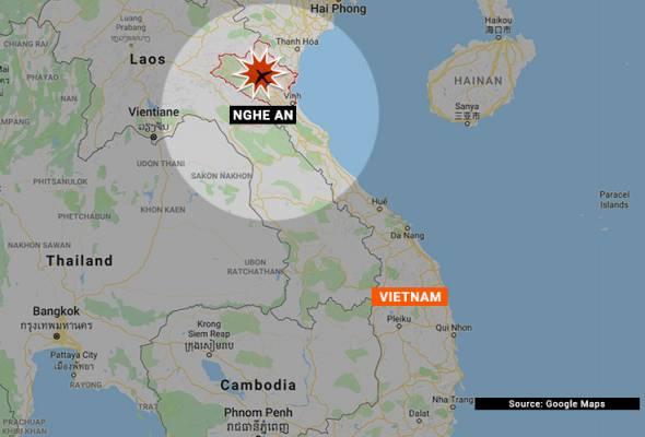 Pesawat terhempas di kawasan berbukit di daerah Nghia Dan yang terletak di wilayah Nghe An, sekitar 300km selatan Hanoi.   Astro Awani
