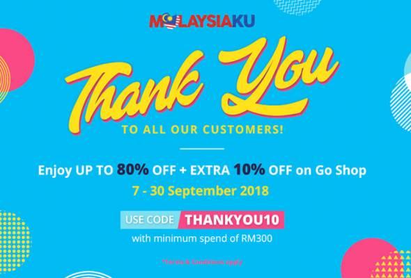 Pelanggan boleh menikmati diskaun 10 peratus ini apabila membuat pembelian minima RM300 dengan menggunakan kod THANKYOU10.