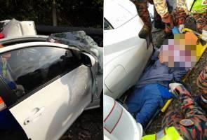 Wanita warga China maut kereta rempuh pembahagi jalan