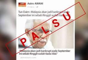 Palsu! Astro AWANI tidak siarkan berita berhubung Tun Daim
