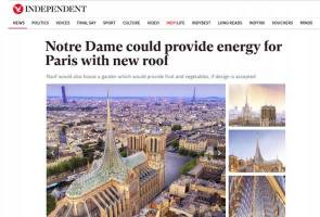 Bumbung baharu Notre Dame manfaat tenaga solar