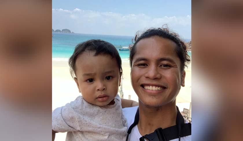 Hafiz dan anak sulungnya, Muhammad Riyadh Zafri sewaktu di Pulau Redang bagi penggambaran muzik video ''Kisah Cinta Kita''.
