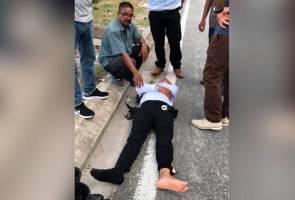 Gara-gara terlanggar polis, penagih lari tinggalkan isteri sarat mengandung