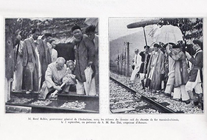 Gabenor-General René Robin dan Maharaja Ba Da'i ketika trek kereta api Transindochinois terakhir dipasang pada 2 September 1936. Foto saigoneer.com