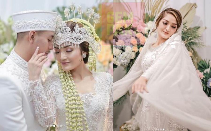 Kedua-dua mempelai menyarung persalinan mengikut adat Sunda berona putih. - Foto Instagram   Astro Awani