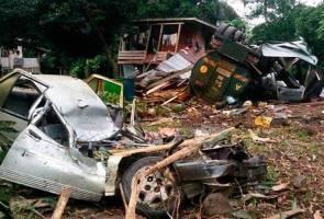 Lori tangki hilang kawalan rempuh gerai, rumah dan kereta